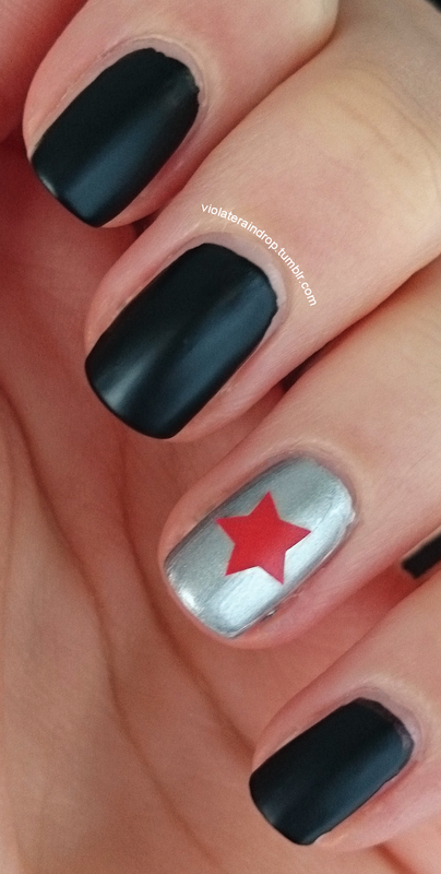 Simple Captain America The Winter Solr Manicure Nail Art By