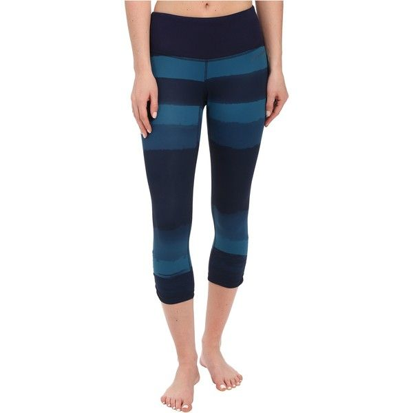 Brooks Greenlight Capris SE (River Scape/River) featuring polyvore, women's fashion, clothing, activewear, activewear pants, blue and brooks sportswear