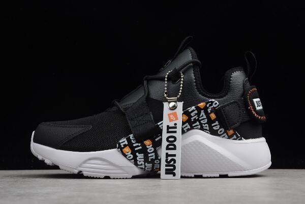"c150078d83ff Nike Air Huarache City Low PRM ""Just Do It"" Black White-Total Orange  AO3140-001"