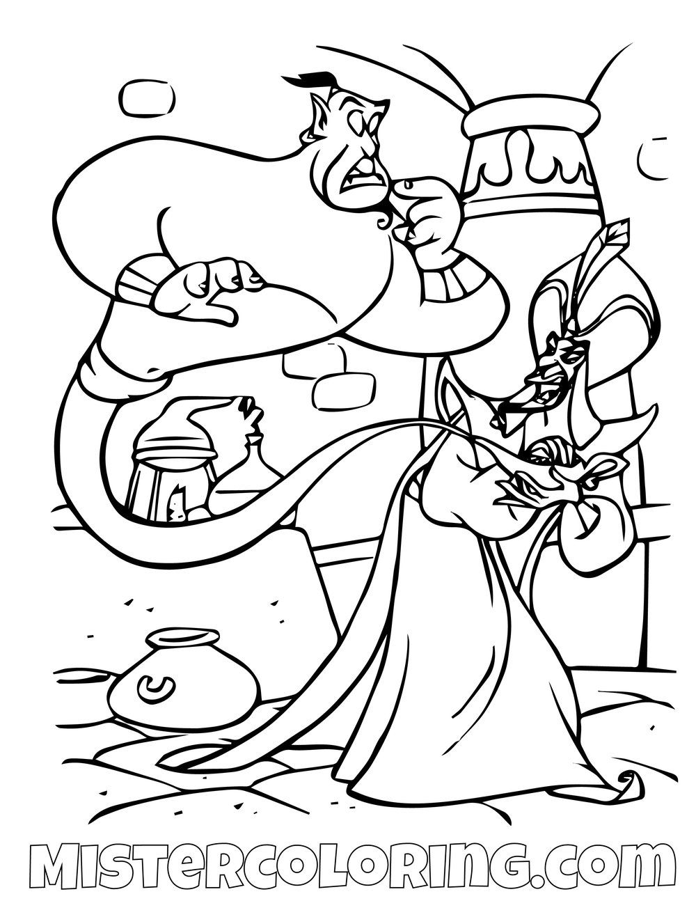 Genie Captured By Jafar Aladdin Coloring Page For Kids Disney