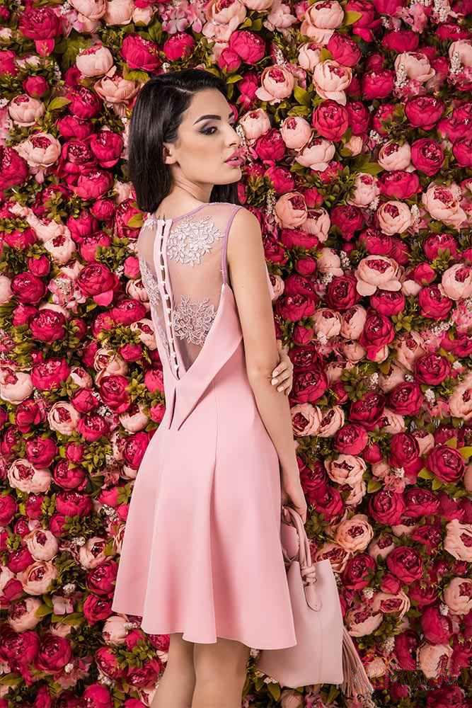 Rochie Cherie Rose Rochie Eleganta Rose Accesorizata Cu Tull