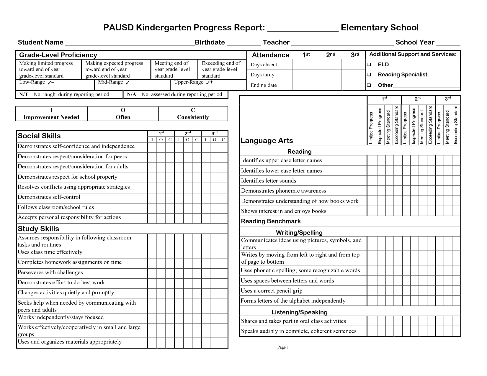 Rd Gradeprogress Report Template  Pausd Kindergarten Progress