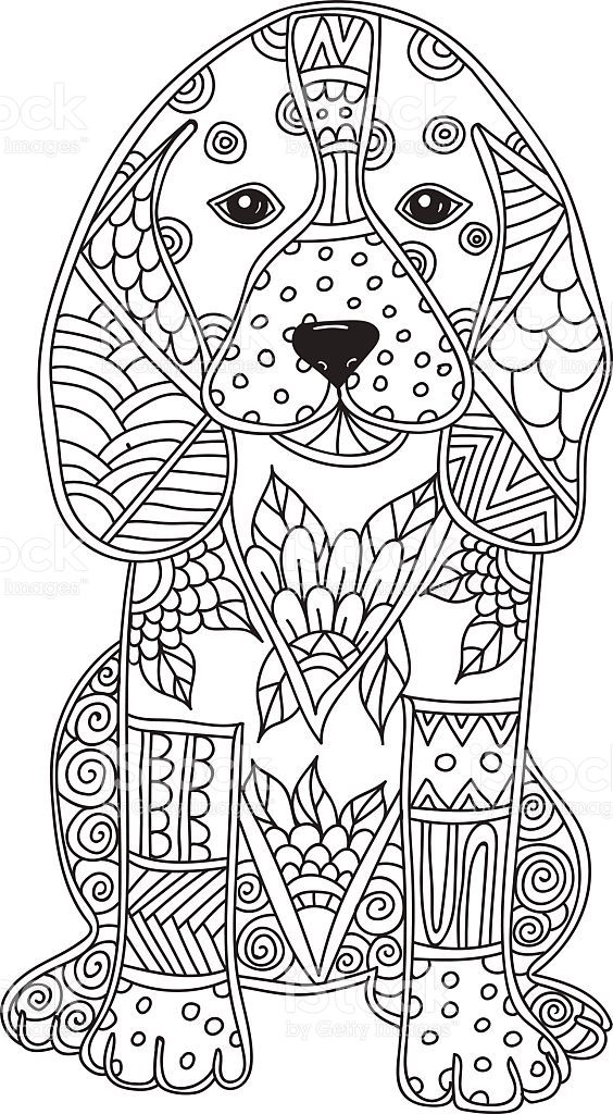 Dog Adult Antistress Or Children Coloring Page Hand Drawn Animal