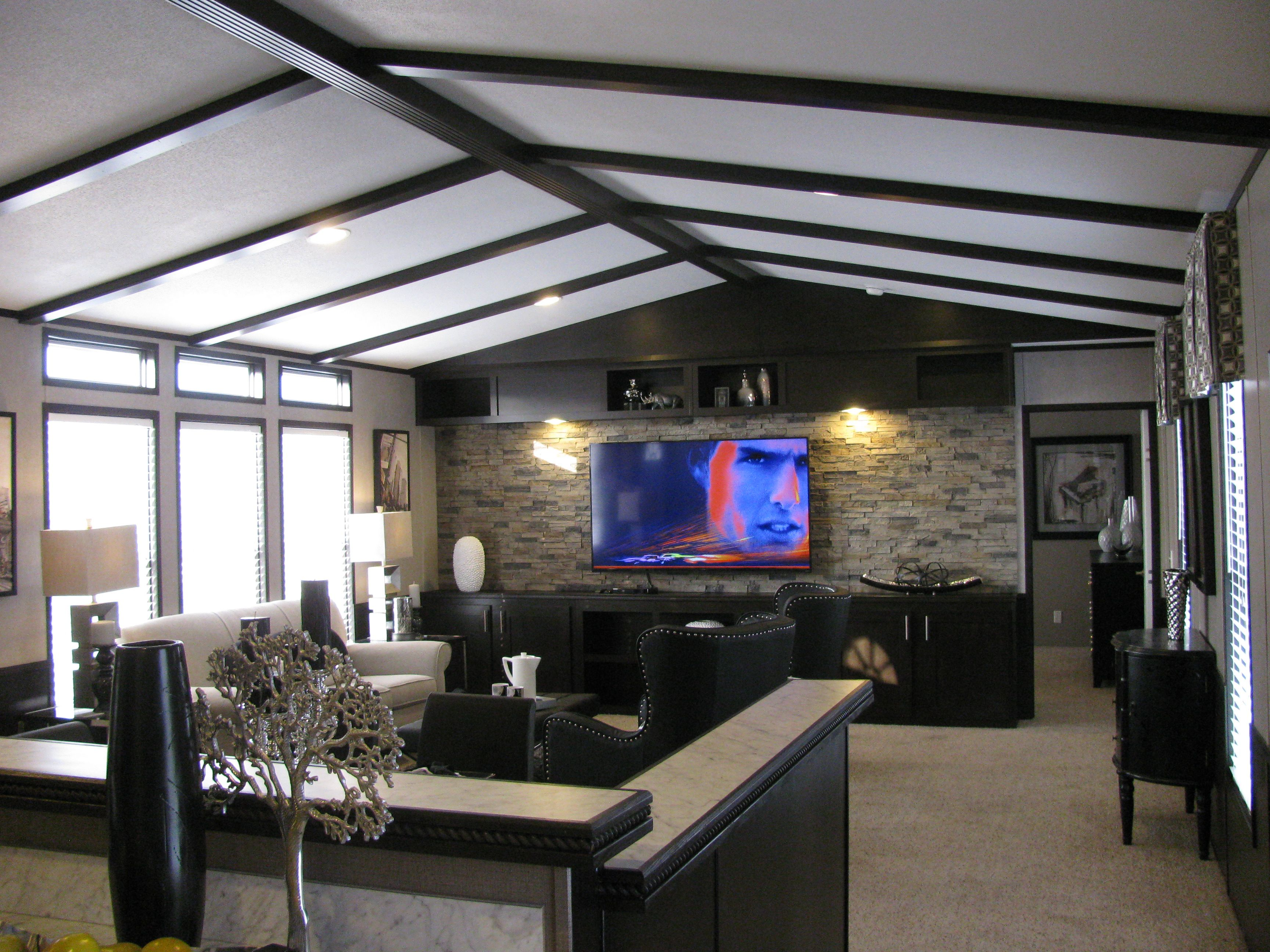 18X80 Schultz Home Fishbone Ceiling With Rock Entertainment Center