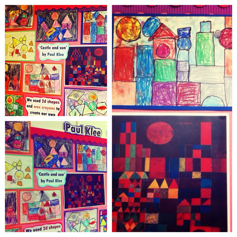 Paul klee inspired art castle and sun year 1 children used 2d shapes to make their own pictures and used wax crayons to colour the shapes