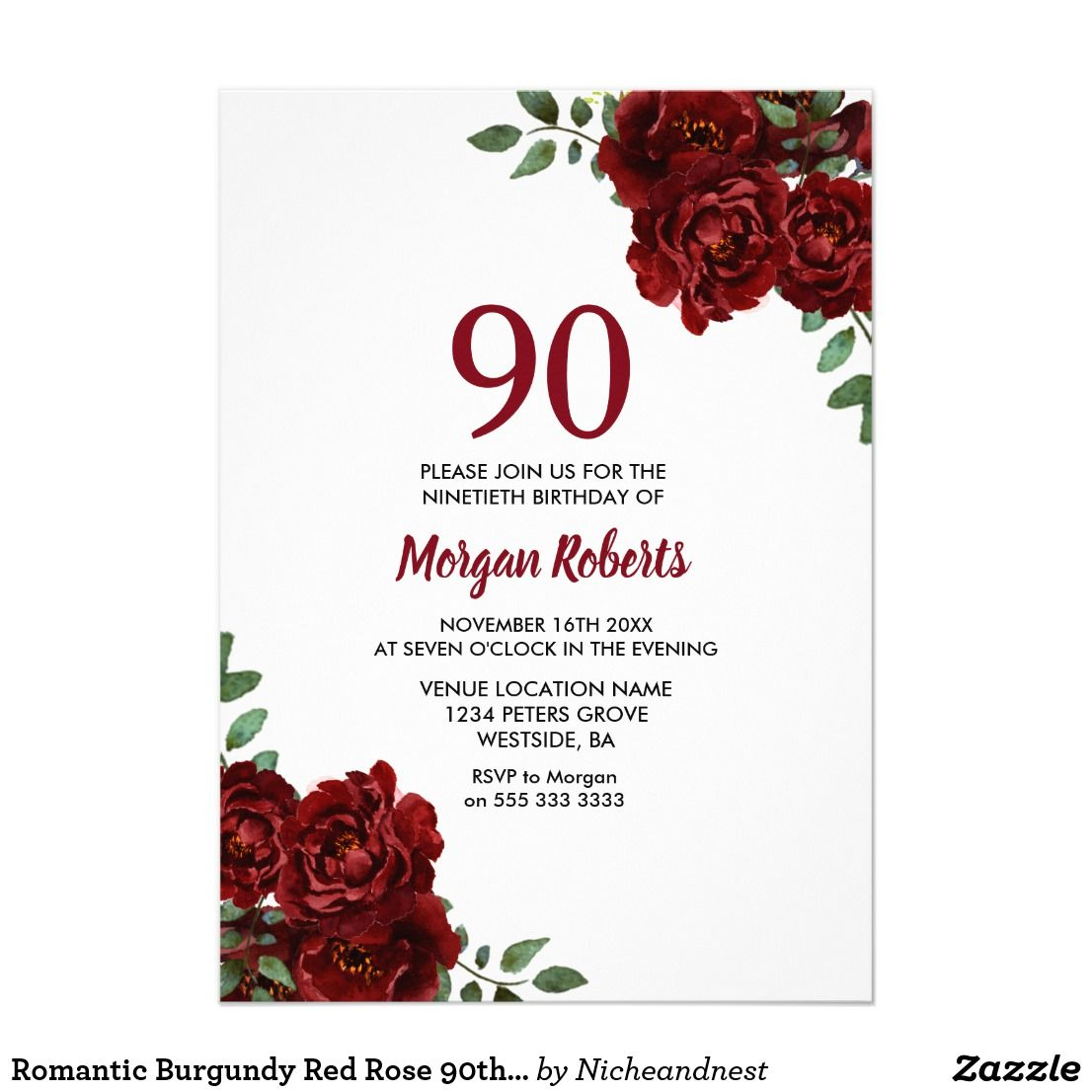 Romantic Burgundy Red Rose 90th Birthday Invite Affiliate Ad Link Custom Party Invitations Invites Birthdayparty