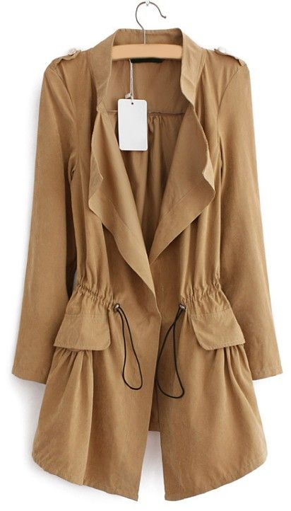 New Women Long Sleeve Turn Down Solid Trench Coat