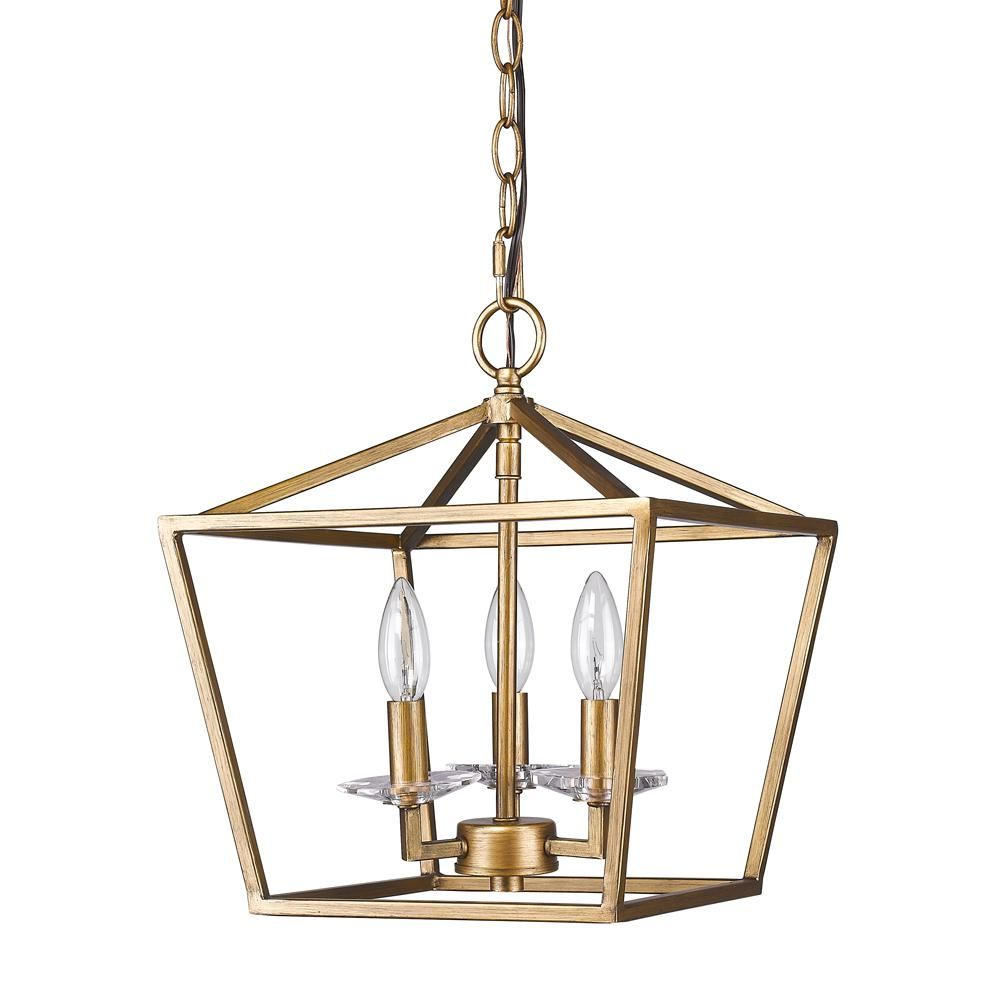 Acclaim Lighting Kennedy 3-Light Indoor Antique Gold Chandelier with ...