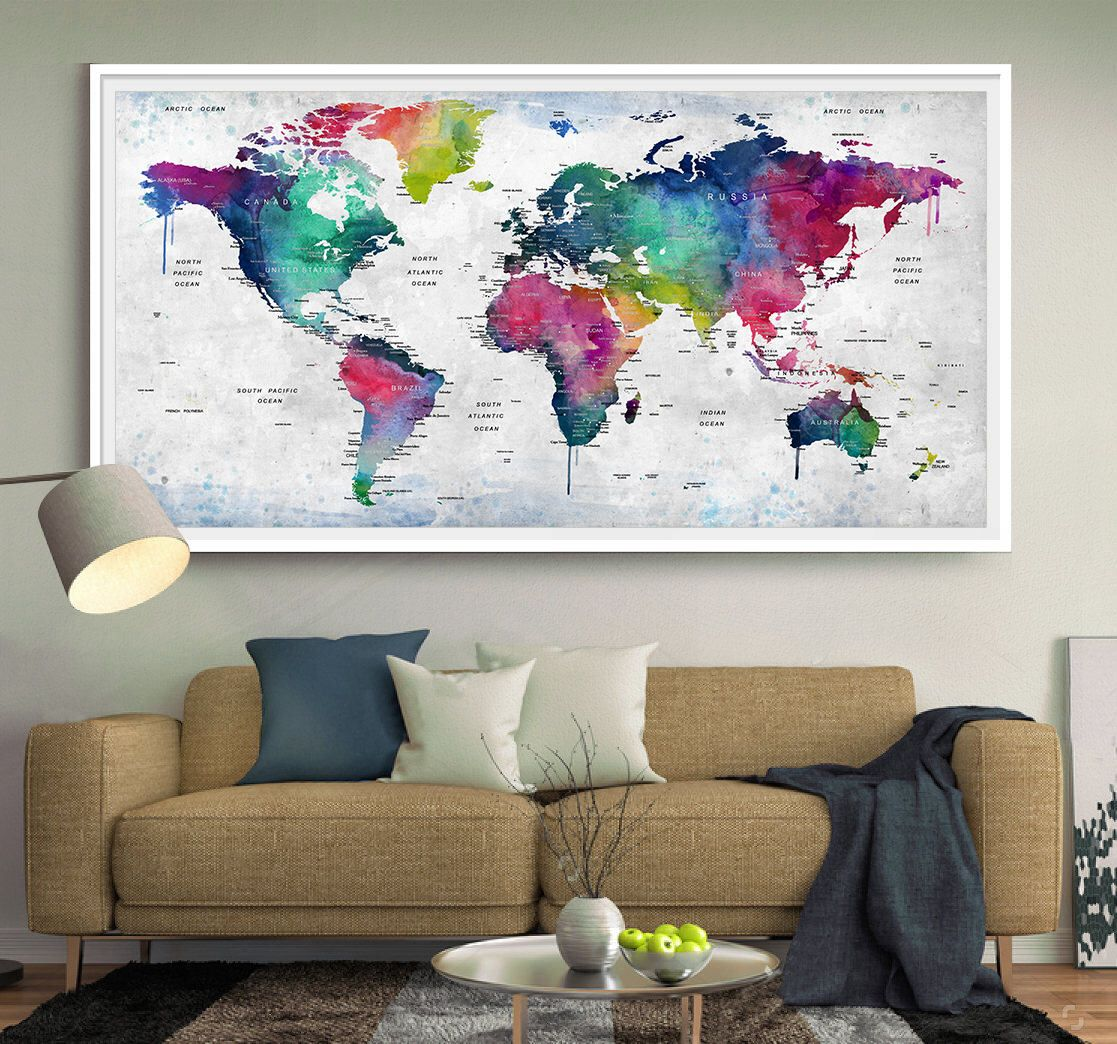 World map wall art world map print world map decor world map explore world map decor world map art and more gumiabroncs Images