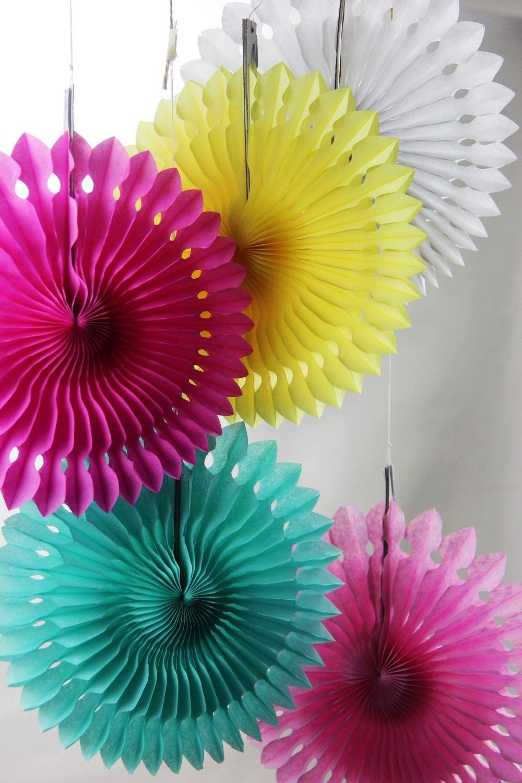 5pcs 20cm Tissue Paper Cut Out Paper Fans Pinwheels Hanging Flower
