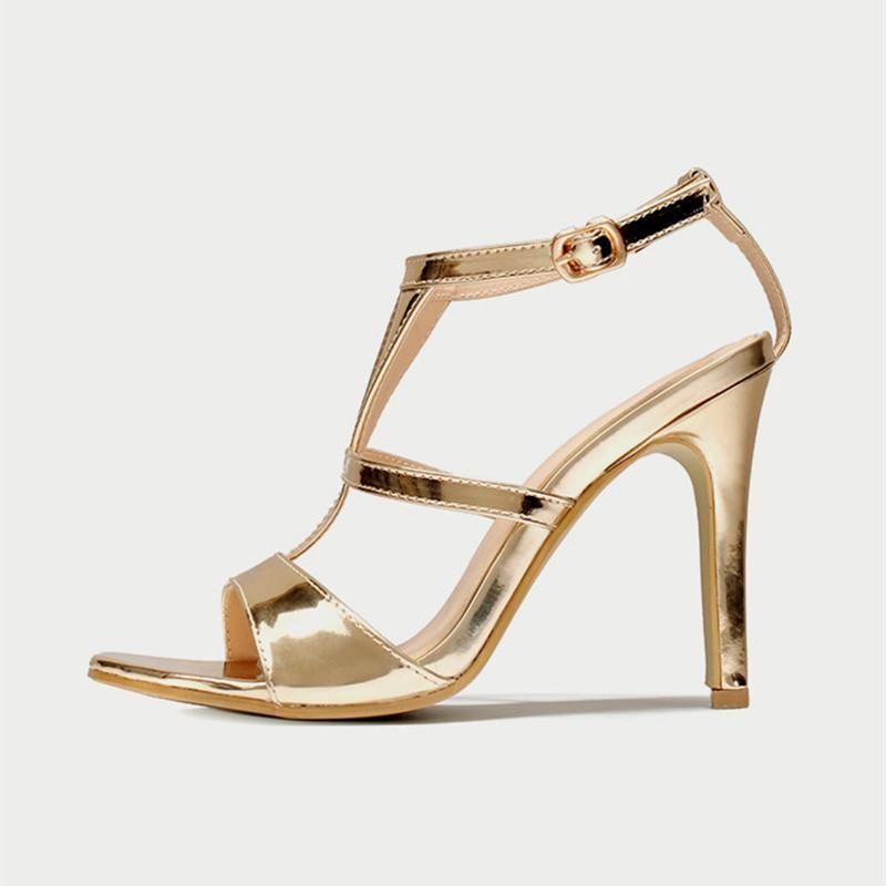 090a885be Gold Sandals Women T-strap High Heels Gladiator Roman Shoes Ladies Sandals  Gold Shoes Summer Waterproof Women Sandals #promdresses #dresses  #weddingdresses ...