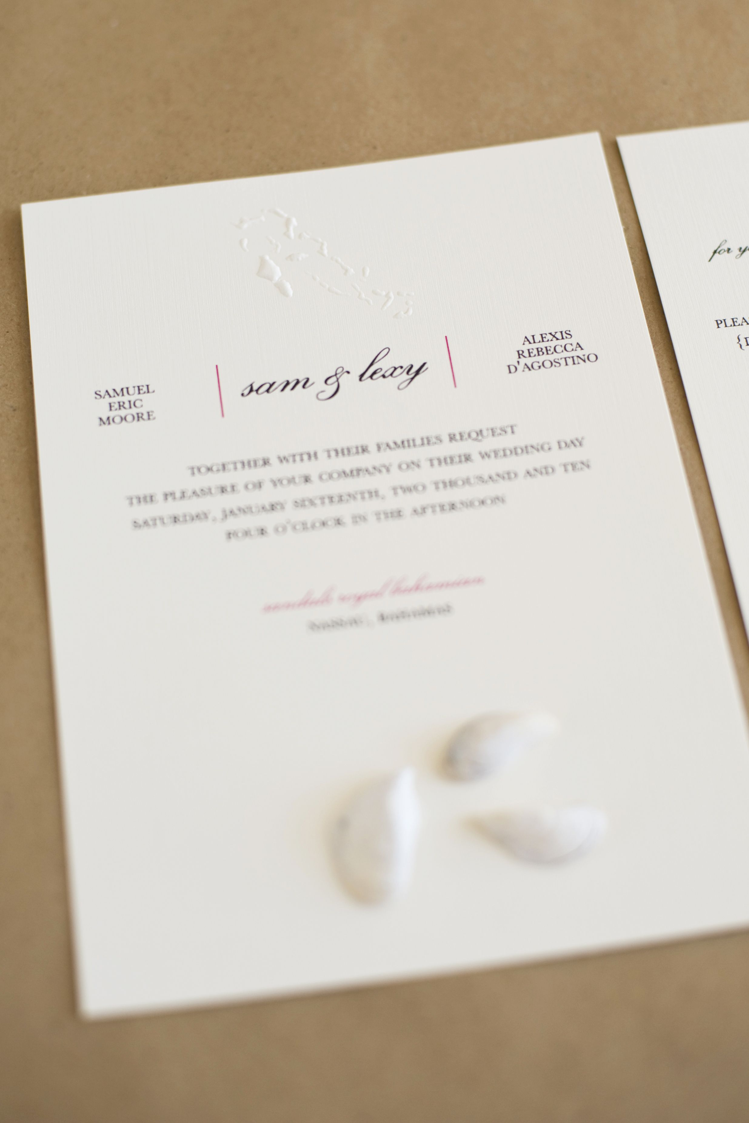 Thermography and Blind Embossed Invitation. {baci designer ...