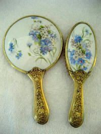 Art Nouveau Blue Cornflowers Vanity Hand Mirror Brush Set Rose