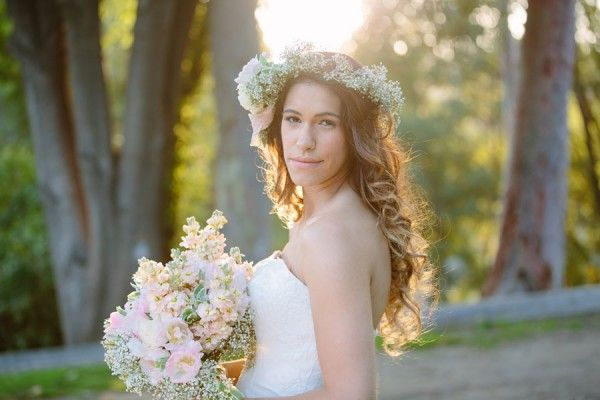 Bohemian Floral Crown ~ 3 Unique Looks For One Kitty Chen Wedding Dress Photograph by Valentina Glidden Photography  http://www.storyboardwedding.com/sophisticated-bohemian-bridal-style-from-floral-crowns-bridal-headscarves-to-perfectly-pinned-dos/