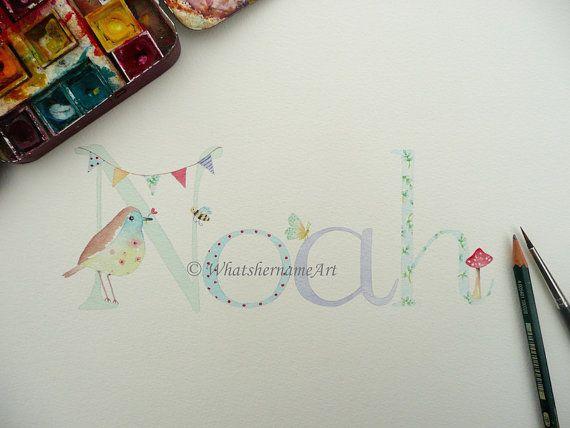 Items Similar To Boy S Name Art Custom Painting Personalized Children Baby Boys Nursery Decor Little Room Gift