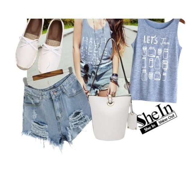 """""""denim short"""" by whyfashionblog ❤ liked on Polyvore"""