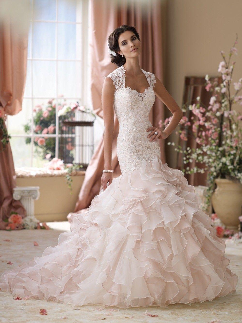 Mermaid ruffle wedding dress  Custom Made  New Blush Pink Sweetheart Organza Ruffle Wedding