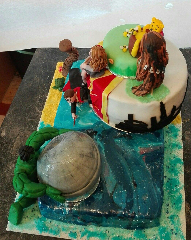 40 40 80 Gegensatz Torte Zum 40 Geburtstag Eines Ehepaares Harry Potter Hulk Star Wars Winnie Puh Karibik London Torten Geburtstag Karibik