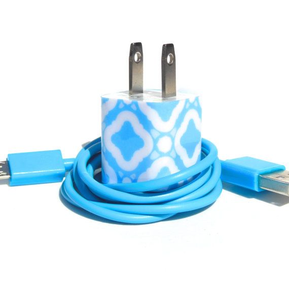 Custom iPhone Charger Decorated with Personality- Color USB Cable Included on Etsy, $20.00