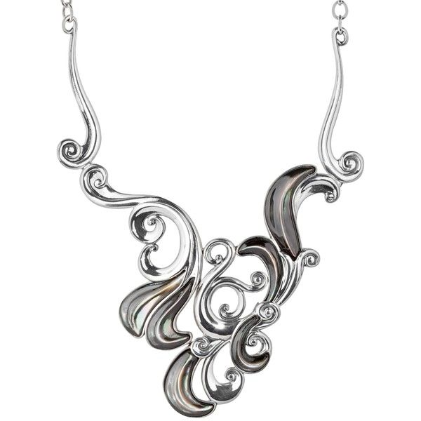 Moondance Gray Mother of Pearl Swirling Statement Necklace ($160) ❤ liked on Polyvore featuring jewelry, necklaces, gray jewelry, swirl necklace, long necklace, grey necklace и carved jewelry