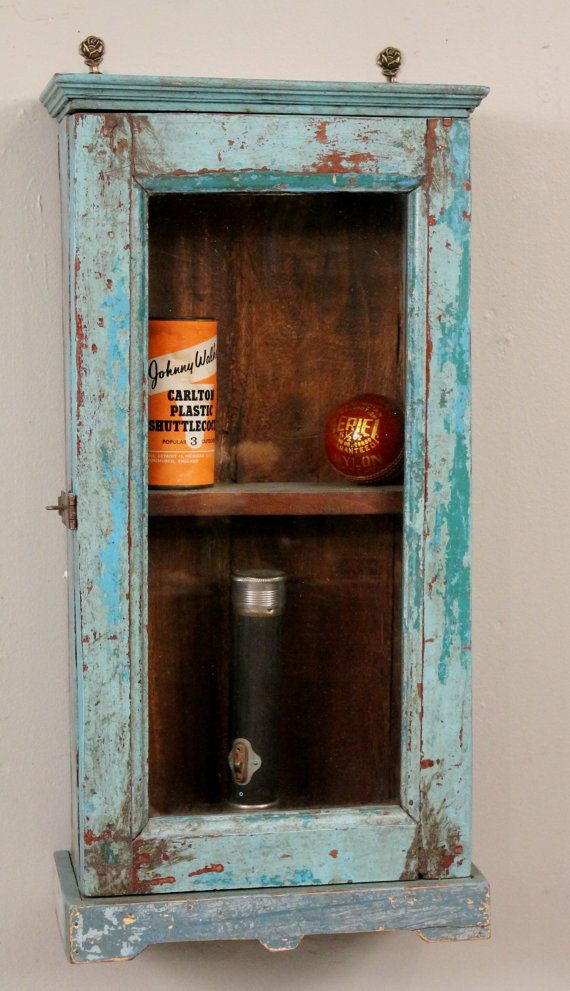 Vintage Reclaimed Wood Blue Turquoise Distressed Chippy Hanging Wall Curio  Spice Rack Kitchen Bathroom Storage Cabinet