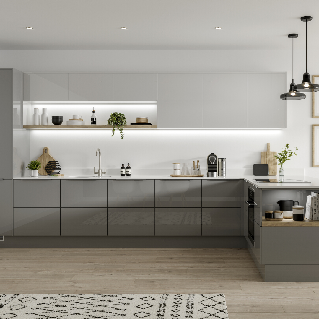 Hockley Mirror Gloss Slate Grey Kitchen In 2020 White Modern Kitchen Kitchen Room Design Modern Grey Kitchen