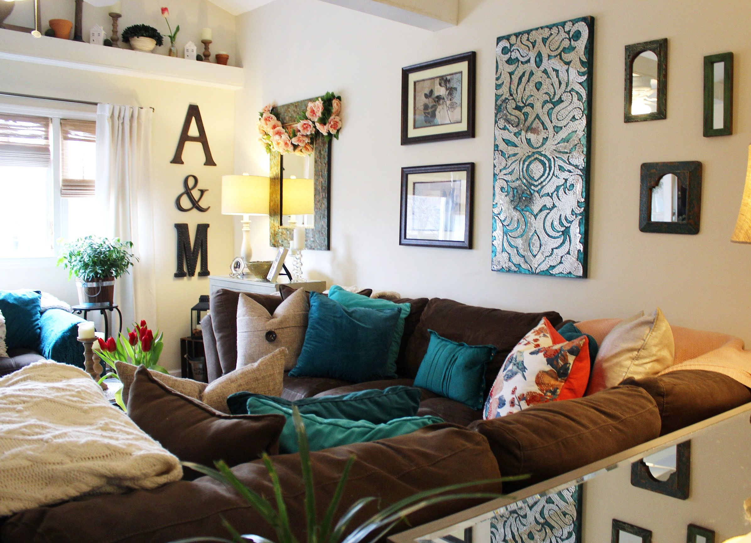 Cozy Brown Couch With Teal Accents Sectional Home Decor Pier1 Living Room Turquoise Home Decor Decor #turquoise #accents #for #living #room