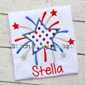 Patriotic Starburst 4th of July Machine Applique Design