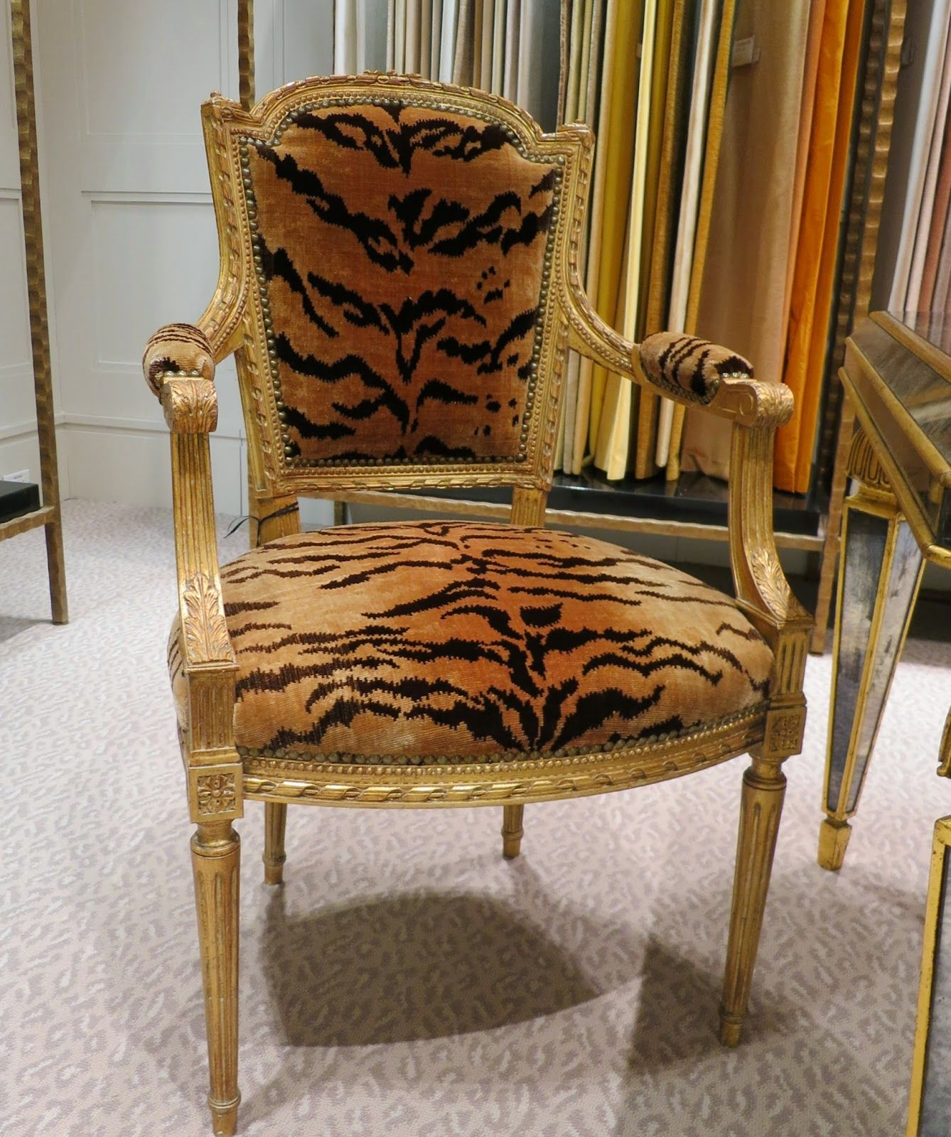 Tiger Patterned Silk Velvet / Louis XVI Style | Chairs ...