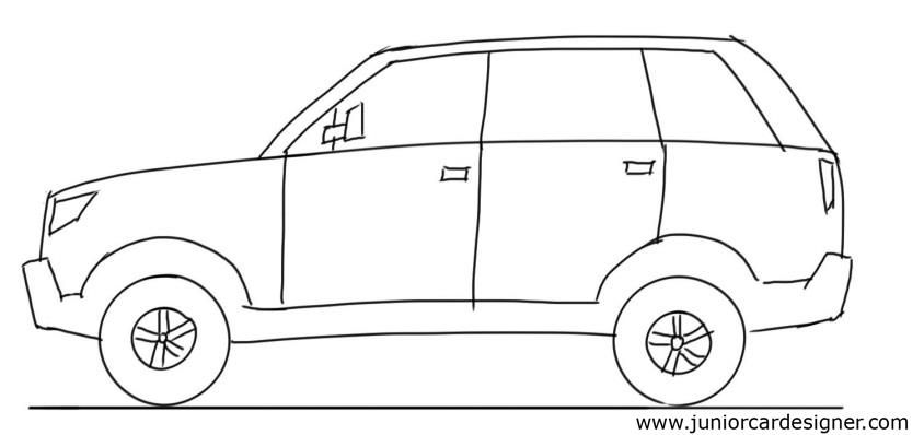 Car Drawing Tutorial Suv Side View