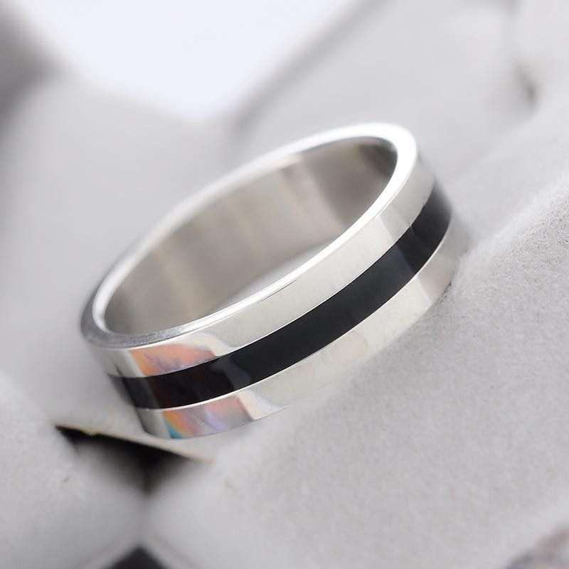Men's Two Tone Stainless Steel 6mm Wide Black Stripe Wedding Band Size 8.5