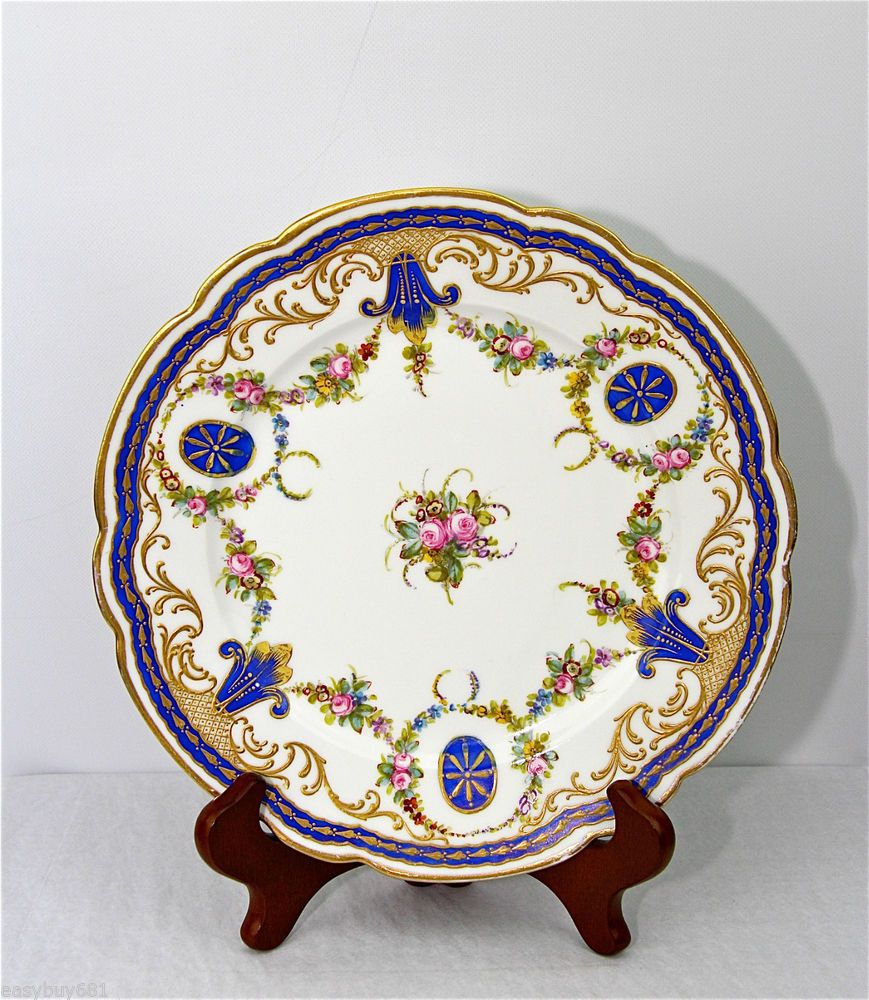 SEVRES 1758 CABINET WALL FLOWER PLATE MUSEUM QUALITY NO CHIPS #SEVRES