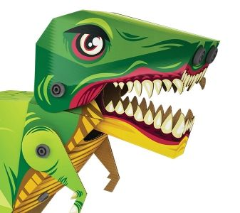 Makedo Ready to Build dinosaur T-Rex  Build your own 3D cardboard construction. Everything you need is included in the box. Become a cardboard construction expert using Makedo's specially designed Scru and Scrudriver. Range includes Dinosaurs, Vehicles, Predators, Desserts & Pets • $15 USD