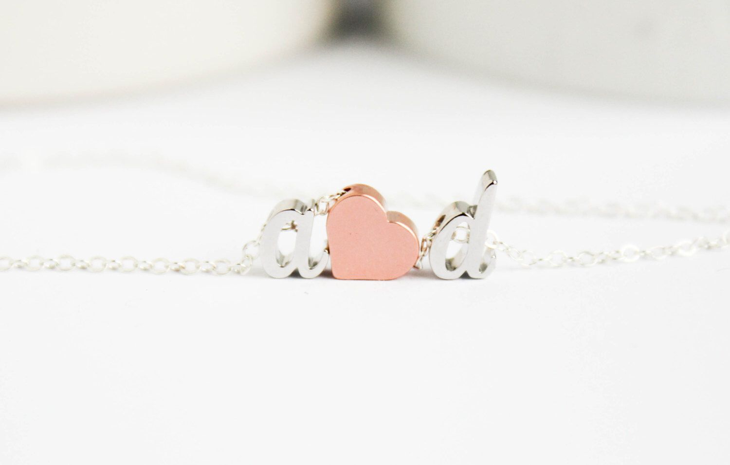 Love necklace, initial heart necklace, Couples necklace, Initial Necklace,Silver Necklace by PROJECTDAHLIA on Etsy https://www.etsy.com/listing/206998468/love-necklace-initial-heart-necklace