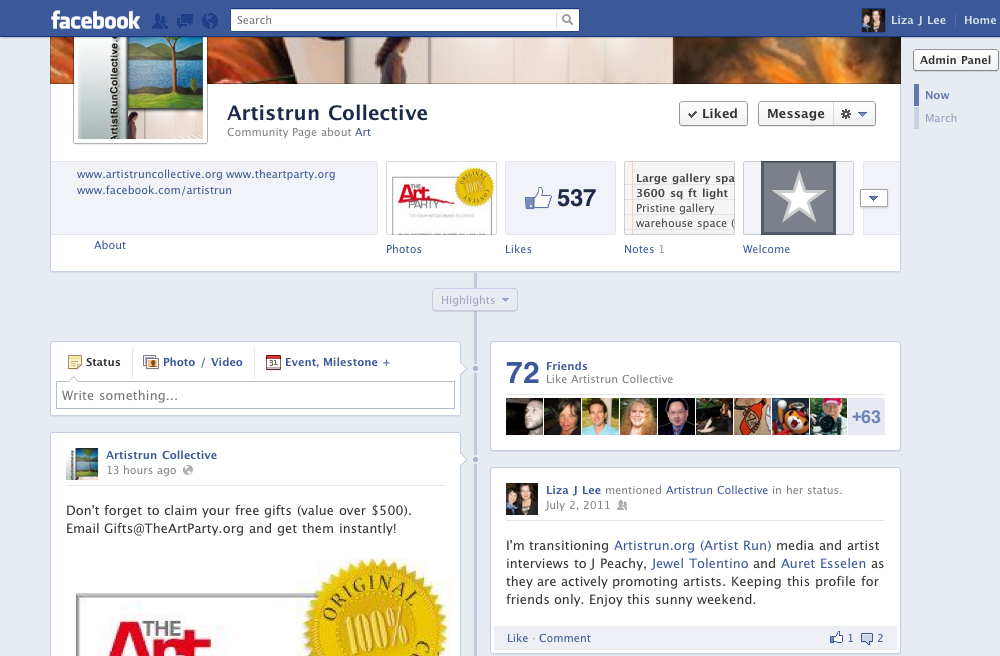 Download step-by-step guide to promote your Facebook event at http://artistruncollective.org.
