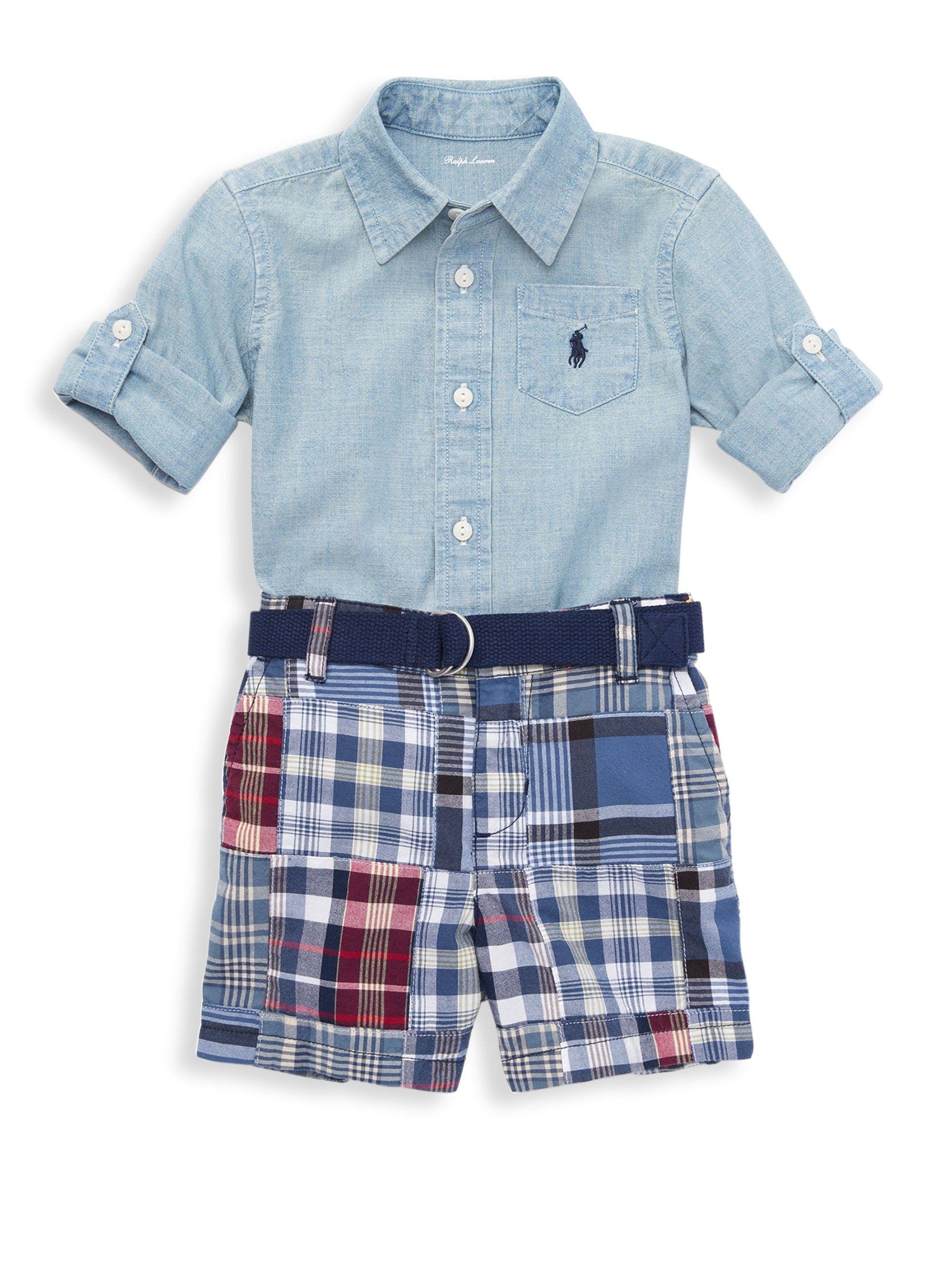 c79cbf895 Ralph Lauren Baby Boy s Two-Piece Cotton Collared Shirt And Madras Plaid Shorts  Set - Blue 24 Months