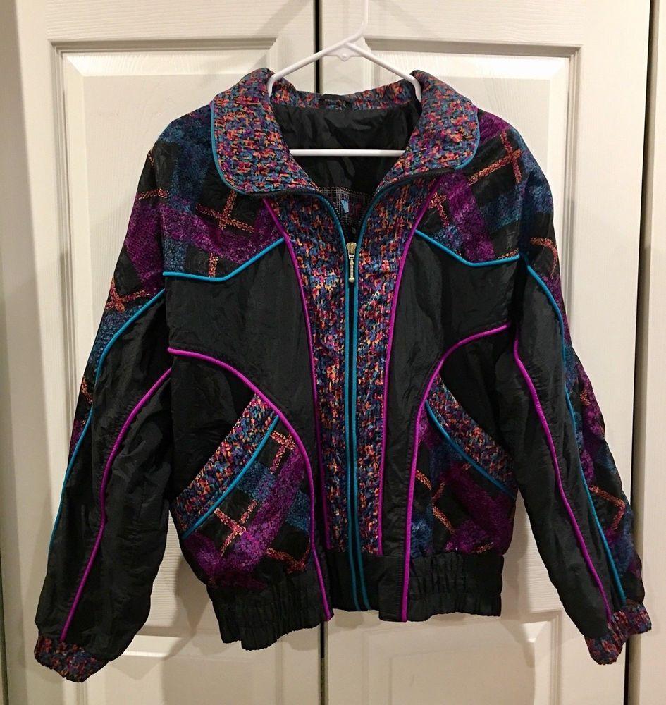 Vintage s s east west black windbreaker ski jacket womens size