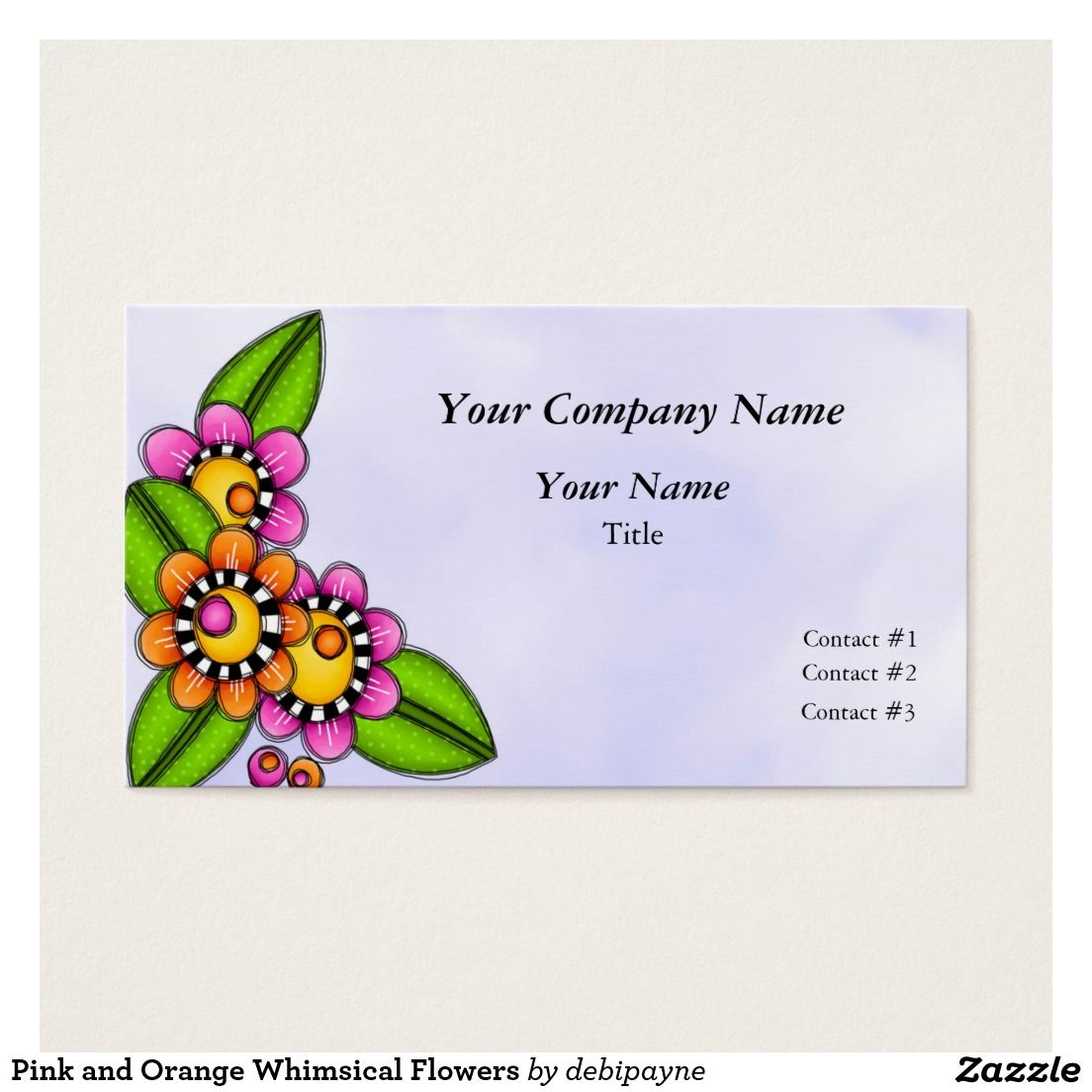 Pink and Orange Whimsical Flowers Business Card