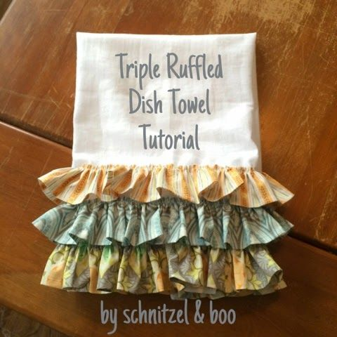 Schnitzel & Boo: Tutorial: Triple Ruffled Dish Towel #dishtowels