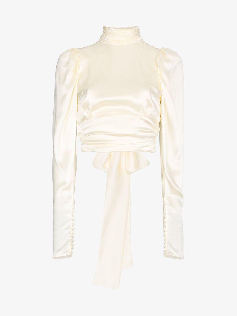 9f1603b71d31ba Magda Butrym Noto open back bow silk blouse