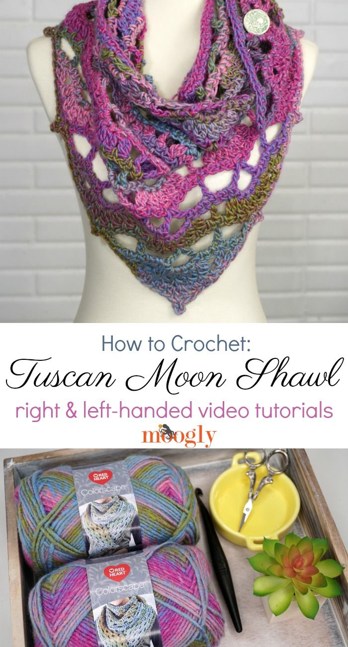 Tuscan Moon Shawl Tutorial - Videos on Moogly! | Tejidos 4 | Pinterest