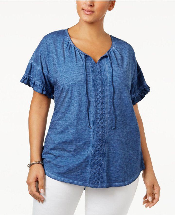 dafa0e34dad3b Style Co. Style   Co Plus Size Cotton Crochet-Trim Peasant Top ...