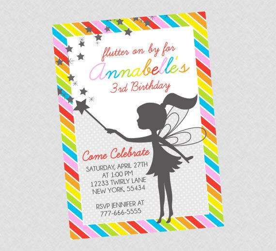 sweet rainbow fairy birthday invitation by