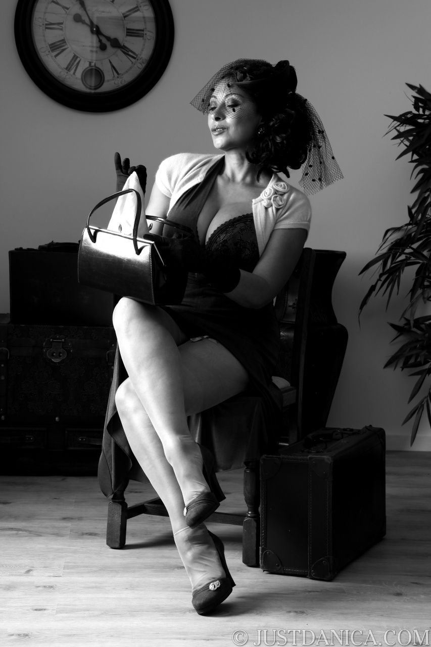 Danica in darksome and white vintage dress and lingerie