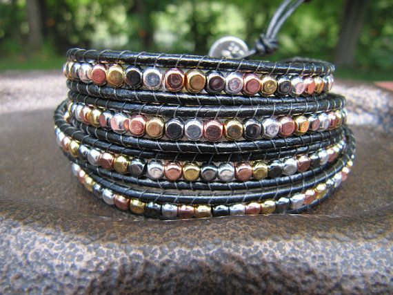 Silver Copper Gold and Gunmetal Mixed Metal Beaded by JillEliz123, $45.00