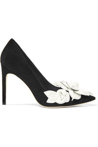 9d46a93a6be4 SOPHIA WEBSTER Jumbo Lilico floral-appliquéd suede pumps.  sophiawebster   shoes