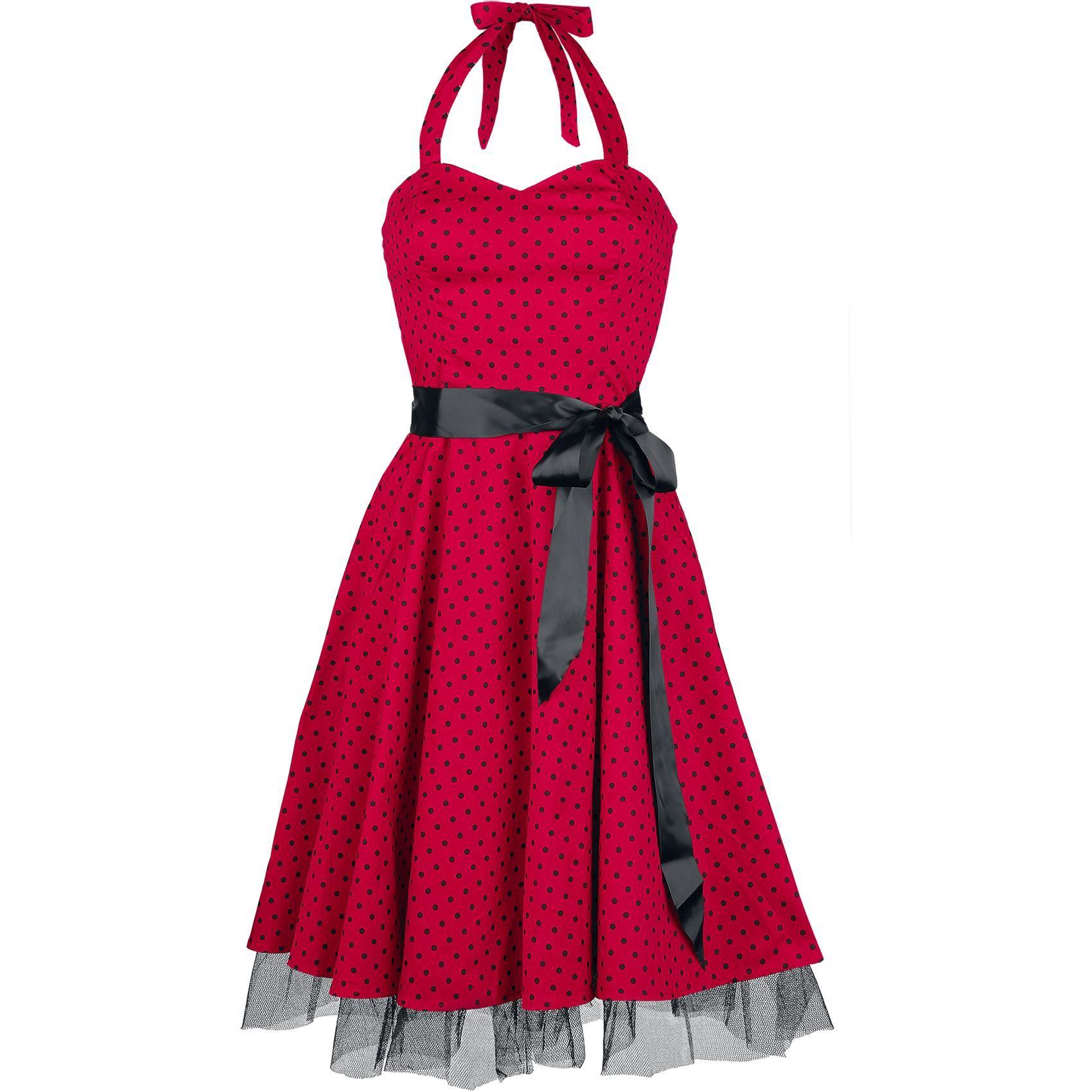 """H&R London Mittellanges Kleid, Frauen """"Small Dot Dress"""" rot/schwarz • EMP (s)"""