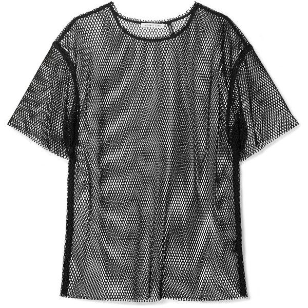 4e931258d272 Helmut Lang Courtney fishnet T-shirt ($355) ❤ liked on Polyvore featuring  tops, t-shirts, punk t shirts, relaxed fit t shirt, relaxed fit tops, helmut  lang ...