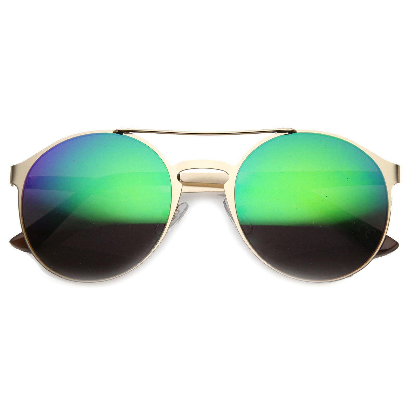c587bb7d3d26da Retro Fashion Round Metal Crossbar Revo Lens Sunglasses 9819 - zeroUV