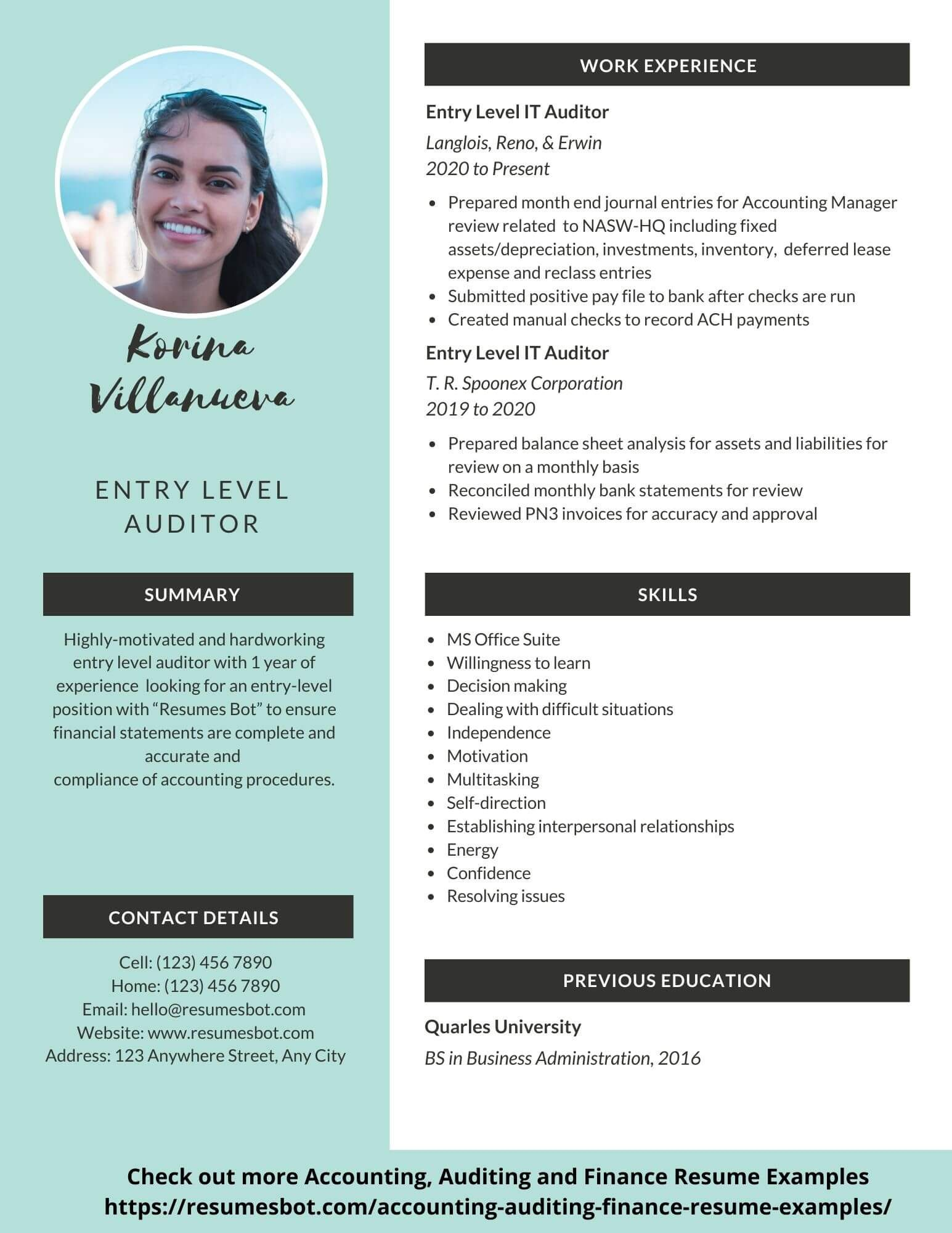 Auditor Resume Sample Example And Tips Pdf Doc Auditor Resumes Bot Resume Template Examples Cover Letter For Resume Resume Examples